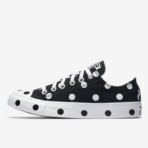 Converse women's polka dot black white shoes